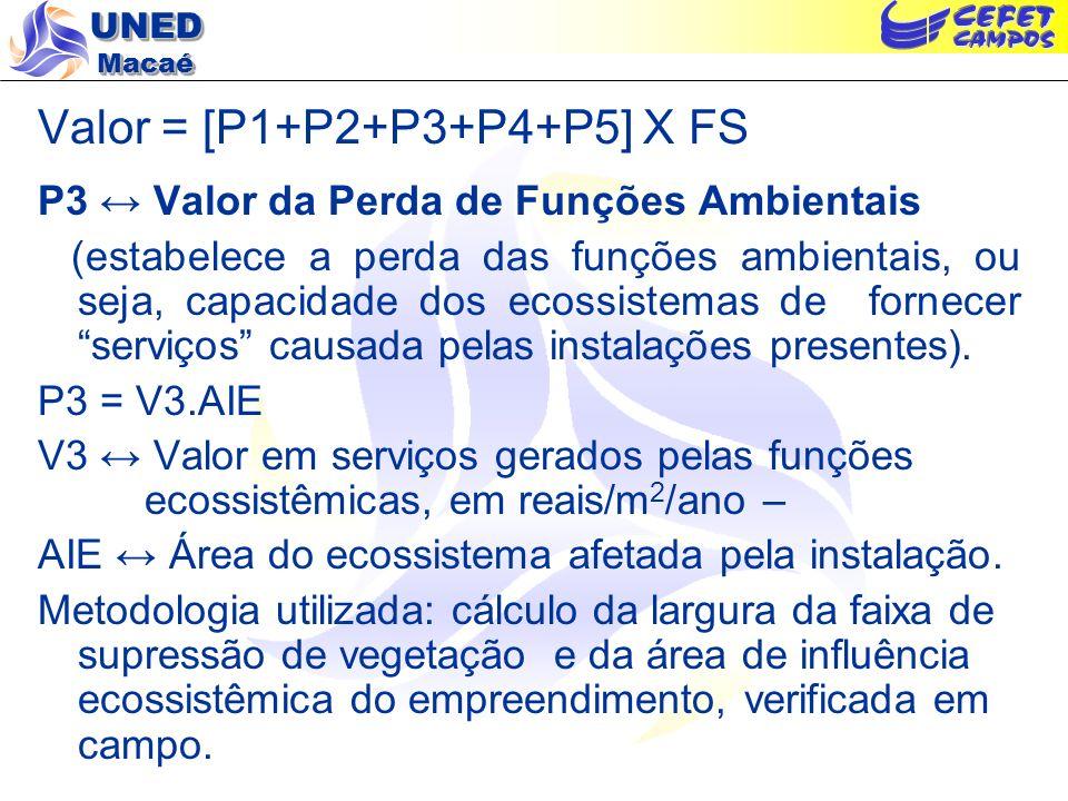 Valor = [P1+P2+P3+P4+P5] X FS